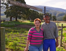 Two people on a farm