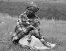 Woman with a blanket outside